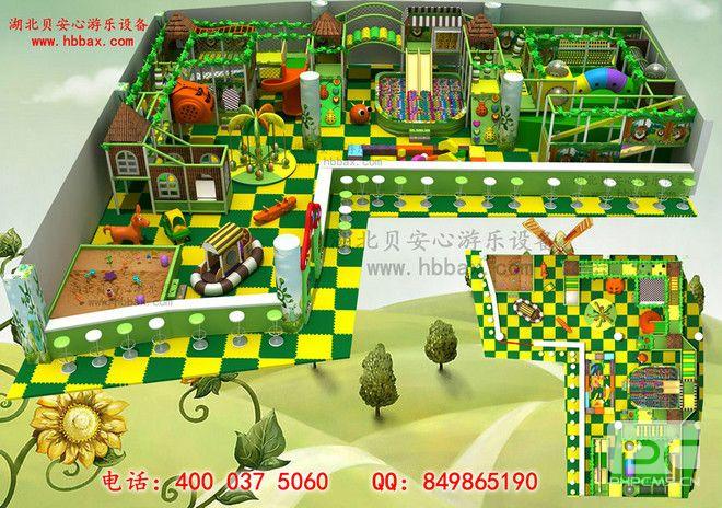 淘气堡200平方 森林之家 椰子树 滑倒 小房子 沙池